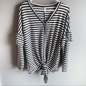 PinkBlush Soft Flounce Trim Tie Front Striped Top